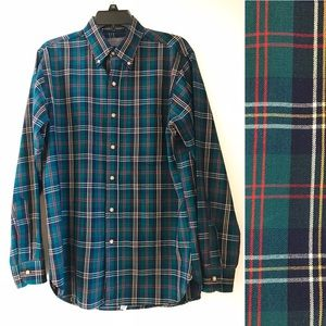 Pendleton Green Plaid Button-down -Virgin Wool